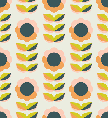Seamless pattern with flowers and leaves in retro Scandinavian style.