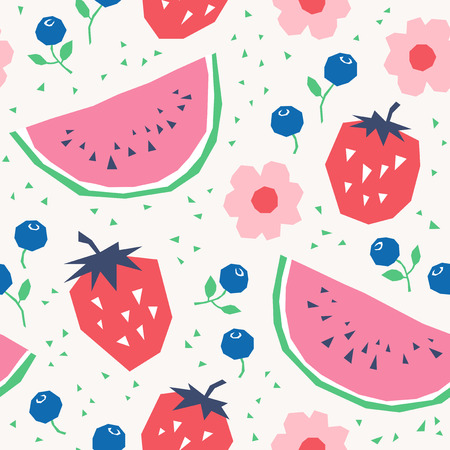 Seamless pattern with strawberries, watermelons, blueberries and flowers.