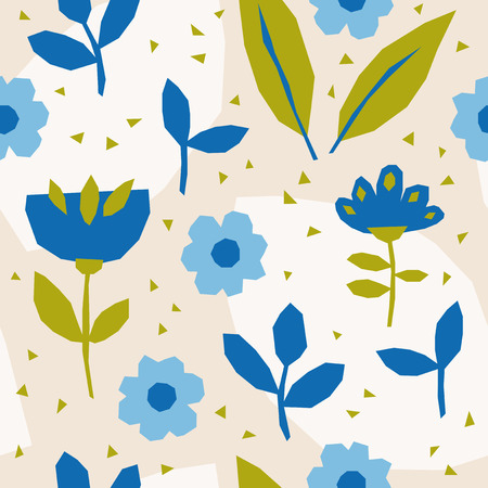 seamless pattern with flowers and leaves in scandinavian style