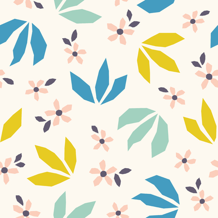Scandinavian style flowers and leaves seamless pattern.
