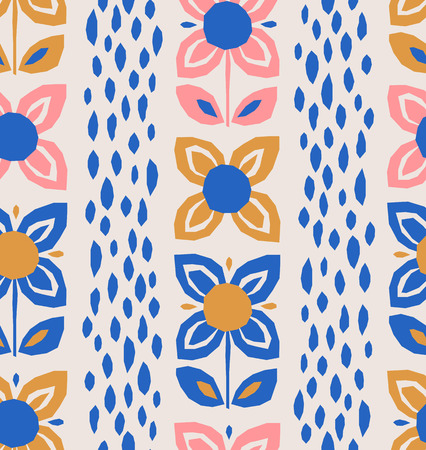 seamless pattern with flowers in scandinavian style