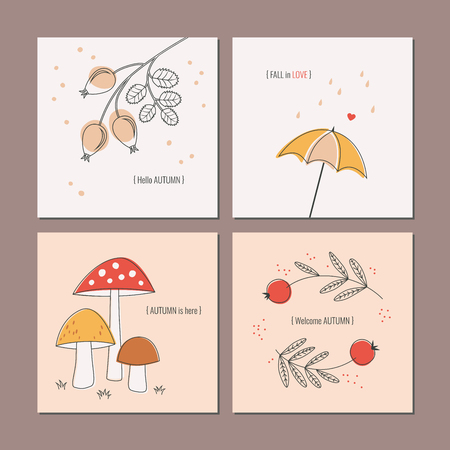 Set of autumnal greeting cards 向量圖像