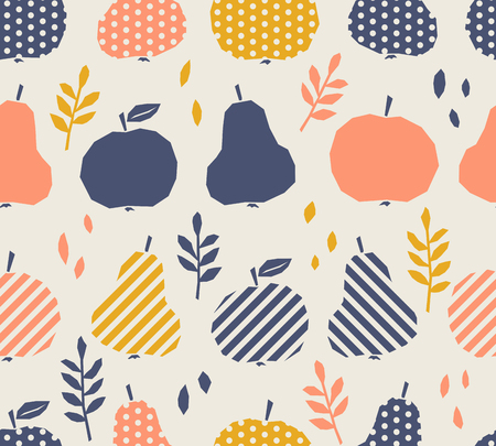 Seamless pattern with apples, pears and leaves 向量圖像