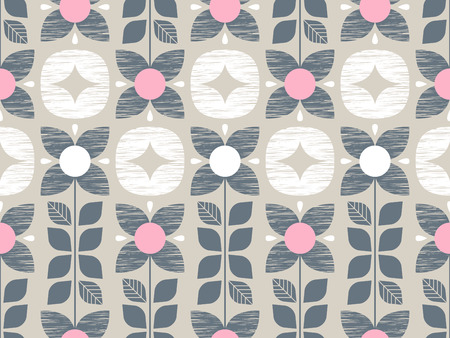 seamless pattern with flowers and ornaments 向量圖像