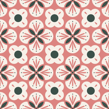 seamless retro pattern with abstract floral elements 向量圖像