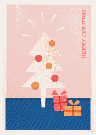 christmas card with christmas tree and presents 版權商用圖片 - 110494304