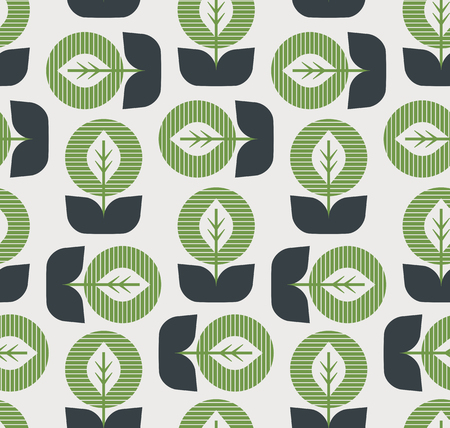 seamless pattern with abstract leaves in retro style 版權商用圖片 - 110717669