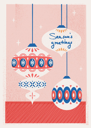 christmas card with christmas baubles 向量圖像