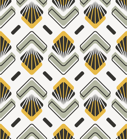 seamless retro pattern with abstract floral and geometric elements