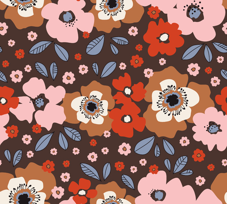 seamless floral retro pattern 向量圖像