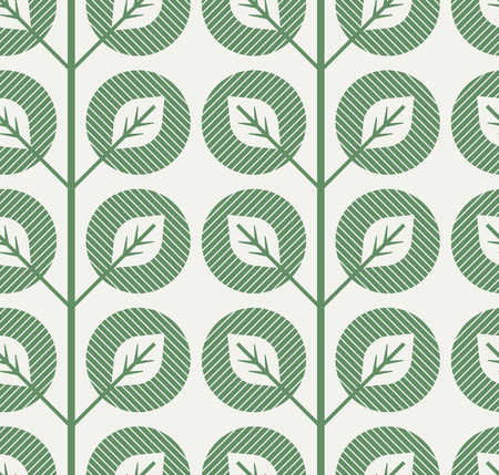 seamless pattern with abstract leaves in retro style