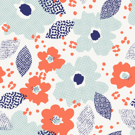 seamless pattern with flowers and leaves 版權商用圖片 - 116449263