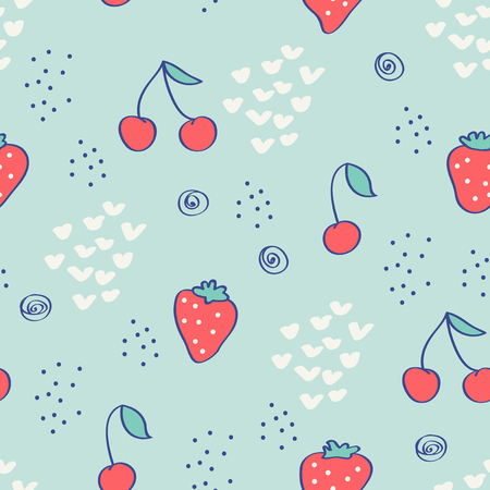 seamless pattern with strawberries, cherries and hand drawn elements