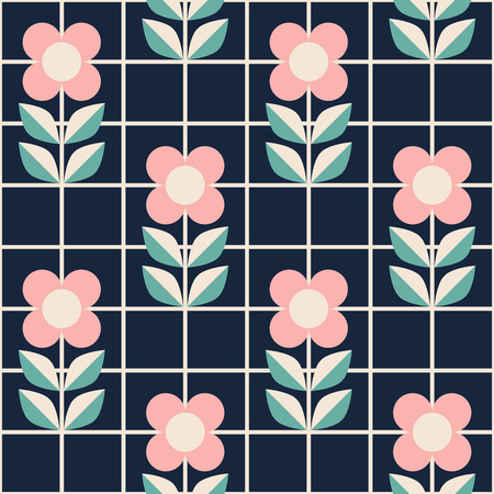 seamless pattern with flowers in mosaic style
