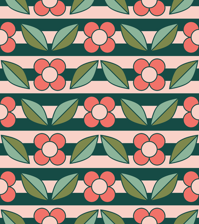 Seamless pattern with flowers and leaves 向量圖像