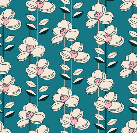 seamless pattern with flowers and leaves in retro style