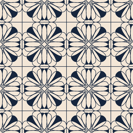 seamless pattern with ornamental floral tiles 版權商用圖片 - 125698750