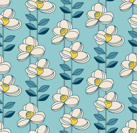 seamless pattern with flowers and leaves in retro sty