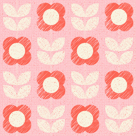 seamless pattern with stylized flowers in retro scandinavian style