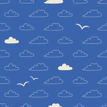 seamless pattern with clouds and birds in scandinavian style