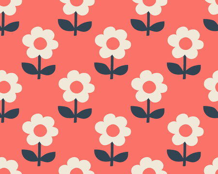 seamless pattern with stylized flowers in scandinavian style 向量圖像