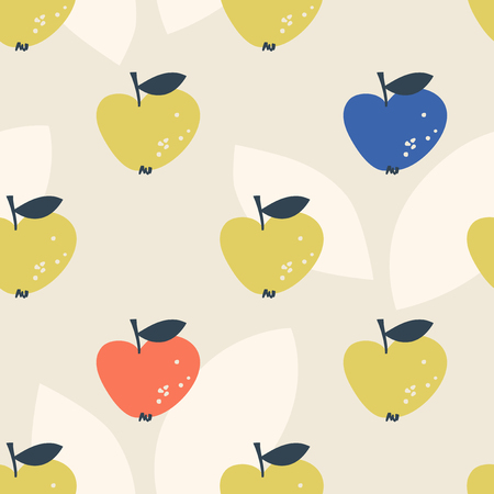 seamless pattern with stylized apples in scandinavian style 向量圖像