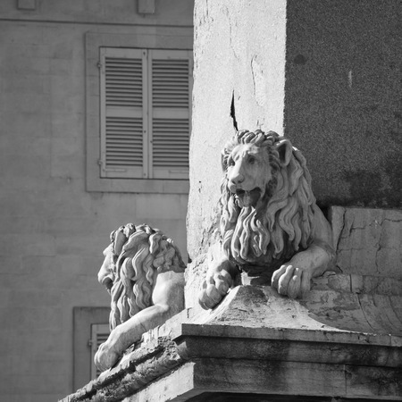 adorning: Statues of Lions adorning the Arles Obelisk at Place de la Republique in Arles, France. Black and white.