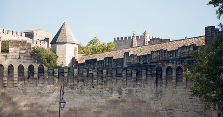 reminding: City walls of Avignon, France. Reminding of castles and fairy tales.