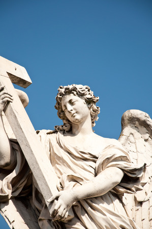 ponte: Angel with the Cross, Ponte SantAngelo, Rome, Italy.