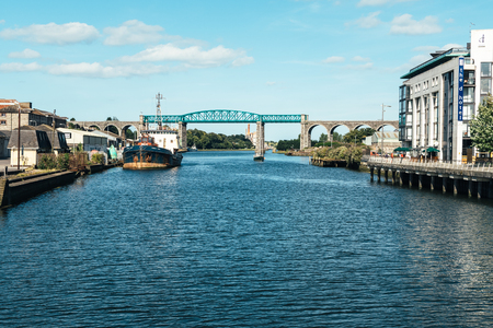 Drogheda, Ireland - July 16, 2017: A view of the Boyne Viaduct - a railway bridge over the river Boyne.