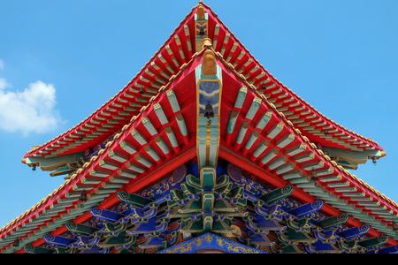 nontaburi: Roof detail of Chinese Temple in Nontaburi, Thailand Stock Photo