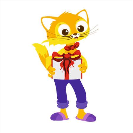 Cute character cat congratulates someone Ilustração