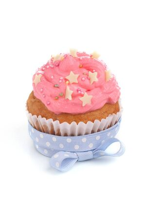 Pink cupcake with blue ribbon bow