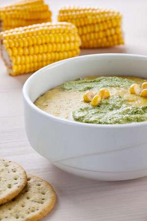 A close up of a corn chouder Stock Photo - 15544123