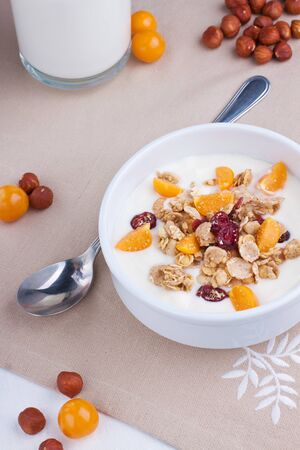 Muesli with yogurt and physalis in a white bowl Stock Photo
