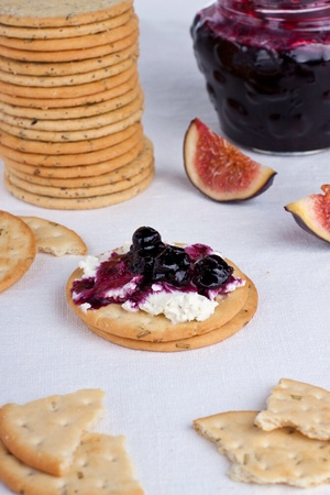 Appetizer cracker with crean cheese and jam Stock Photo - 15568138