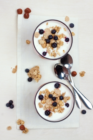 yogurt with muesli and berries in glasses from above photo