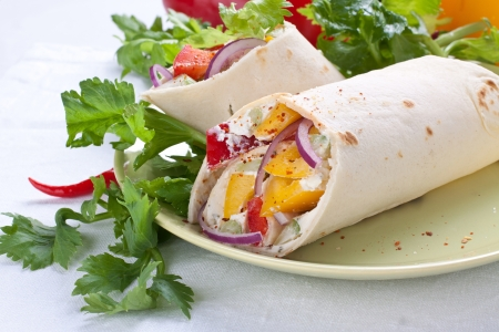 Wrap Sandwich on plate with vegetables