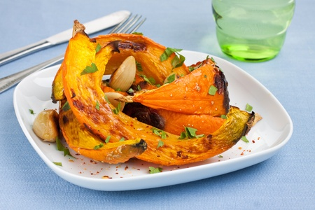 Oven roasted pumpkin slices on plate Stock Photo - 15731614