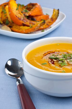 Bowl with pumpkin soup and roasted pumpkins on background Stock Photo - 15731617