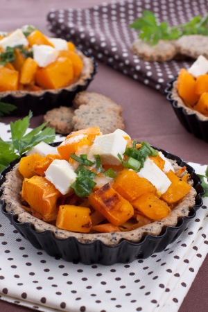 Cheese and pumpkin pies on brown background Stock Photo - 15817674