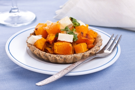 Small cheese pumpkin pie on plate Stock Photo - 15817672