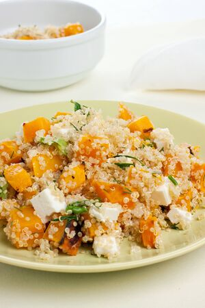 Plate of quinoa salad with feta and pumpkin Stock Photo - 15863091