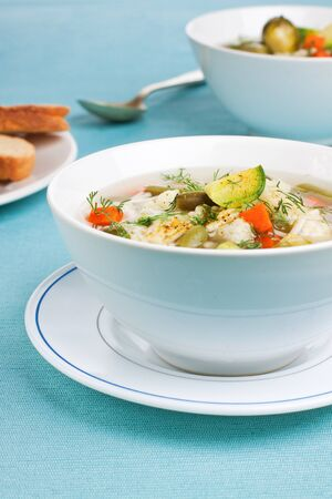 White bowl with portion of vegetable soup Stock Photo - 16145308