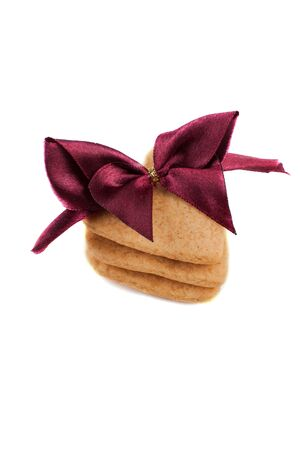 Stack of cookies with red bow