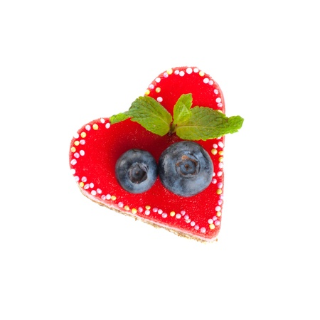 Valentine cake decorated with red marzipan and berries Stock Photo - 16730082