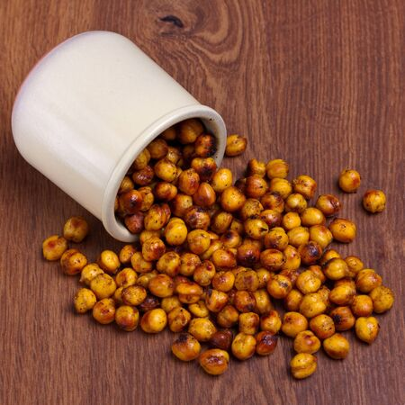 Snack made of spicy roasted chickpeas