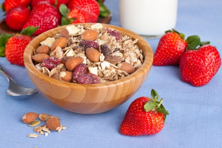 Bowl of nut muesli  with fresh ripe strawberries on background