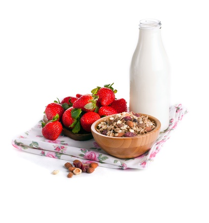 Strawberry, milk and granola for breakfast Stock Photo