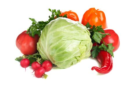 Arrangement of various colorful fresh vegetables Stock Photo